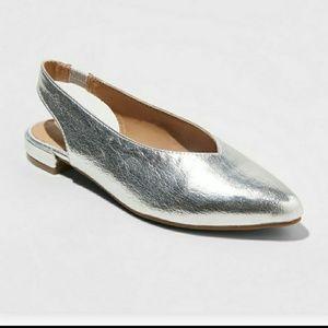 Metallic Silver Slingback Flats